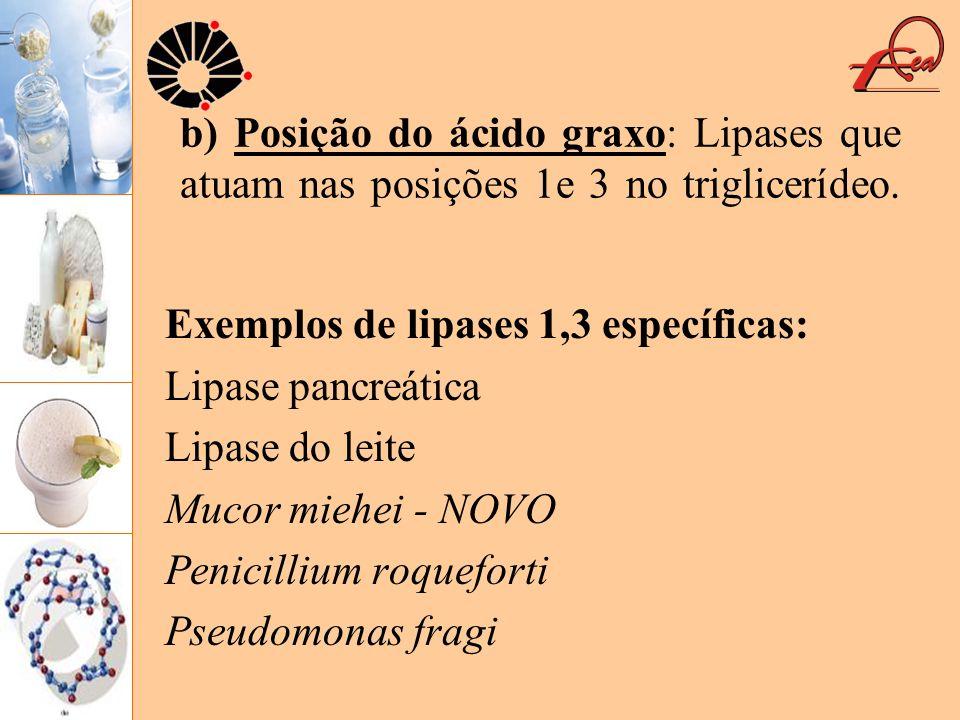 b) Posição do ácido graxo: Lipases que atuam nas posições 1e 3 no triglicerídeo. Exemplos de lipases 1,3 específicas: Lipase pancreática Lipase do lei