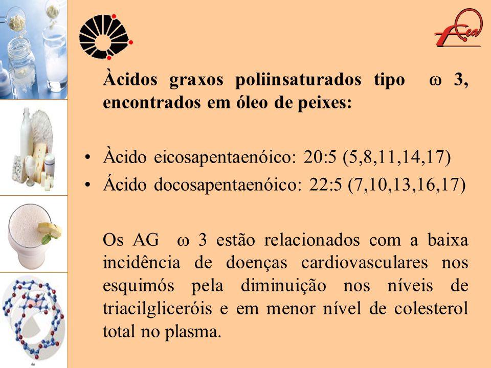 Àcidos graxos poliinsaturados tipo 3, encontrados em óleo de peixes: Àcido eicosapentaenóico: 20:5 (5,8,11,14,17) Ácido docosapentaenóico: 22:5 (7,10,