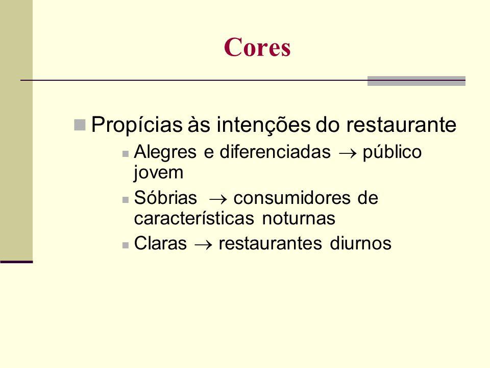 Cores Propícias às intenções do restaurante Alegres e diferenciadas público jovem Sóbrias consumidores de características noturnas Claras restaurantes
