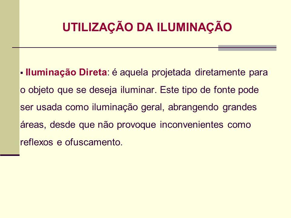 UTILIZAÇÃO DA ILUMINAÇÃO Iluminação Direta: é aquela projetada diretamente para o objeto que se deseja iluminar. Este tipo de fonte pode ser usada com