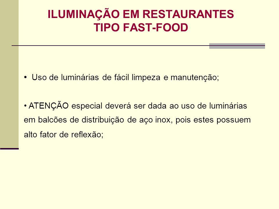 ILUMINAÇÃO EM RESTAURANTES TIPO FAST-FOOD Uso de luminárias de fácil limpeza e manutenção; ATENÇÃO especial deverá ser dada ao uso de luminárias em ba