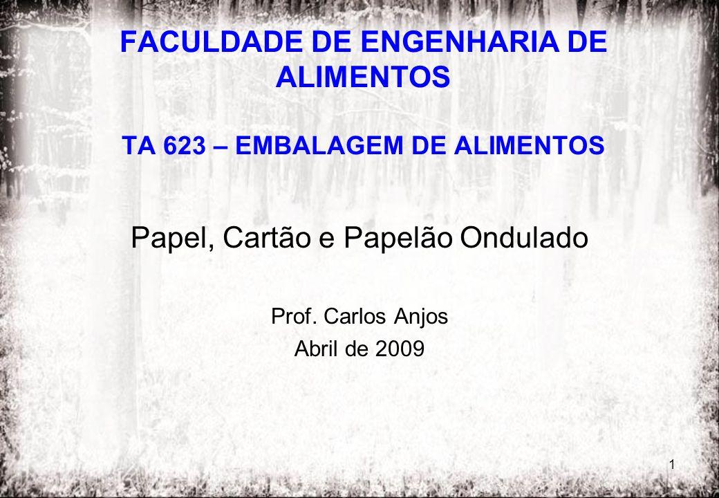 1 FACULDADE DE ENGENHARIA DE ALIMENTOS TA 623 – EMBALAGEM DE ALIMENTOS Papel, Cartão e Papelão Ondulado Prof. Carlos Anjos Abril de 2009