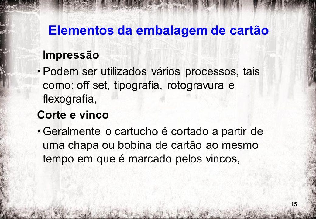 15 Elementos da embalagem de cartão Impressão Podem ser utilizados vários processos, tais como: off set, tipografia, rotogravura e flexografia, Corte