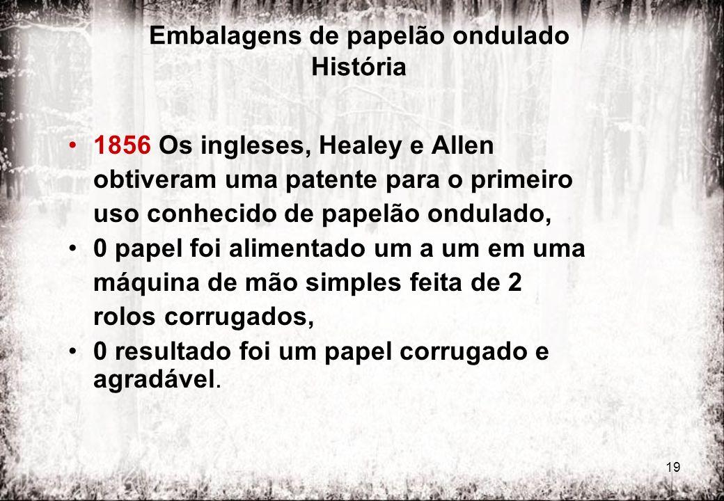 19 Embalagens de papelão ondulado História 1856 Os ingleses, Healey e Allen obtiveram uma patente para o primeiro uso conhecido de papelão ondulado, 0