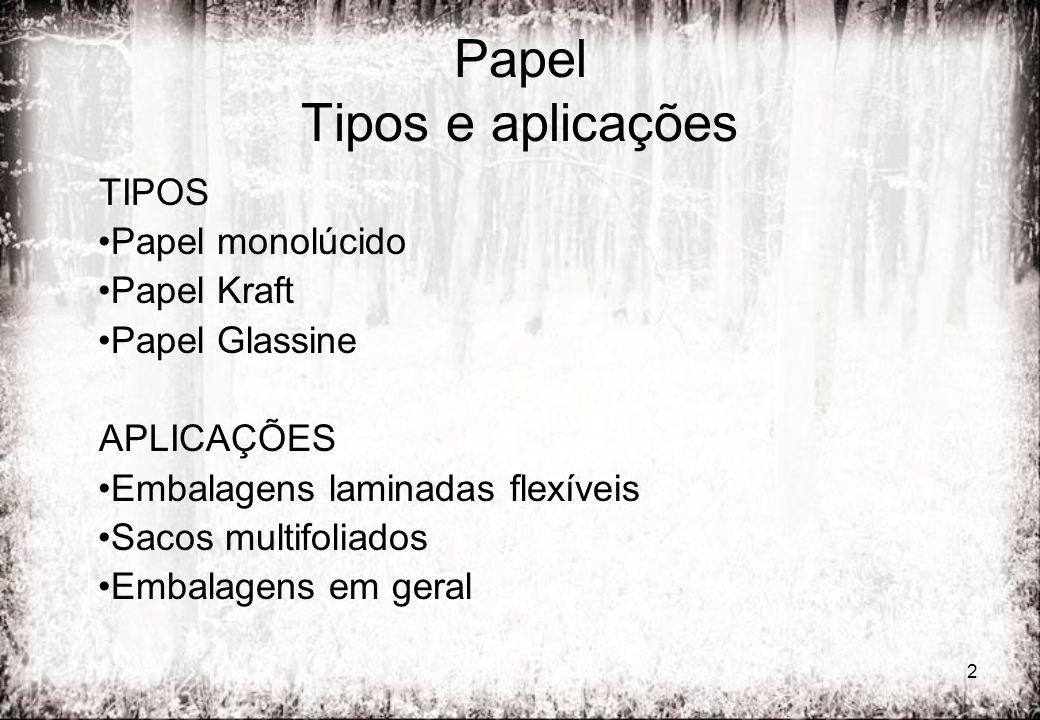 2 Papel Tipos e aplicações TIPOS Papel monolúcido Papel Kraft Papel Glassine APLICAÇÕES Embalagens laminadas flexíveis Sacos multifoliados Embalagens