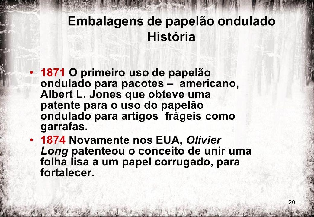 20 Embalagens de papelão ondulado História 1871 O primeiro uso de papelão ondulado para pacotes – americano, Albert L. Jones que obteve uma patente pa