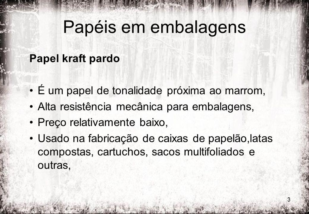 34 Outros tipos de papelão Papelão madeira ou Papelão Paraná É o cartão fabricado com fibras geralmente virgens de pasta mecânica ou mecanoquímica.