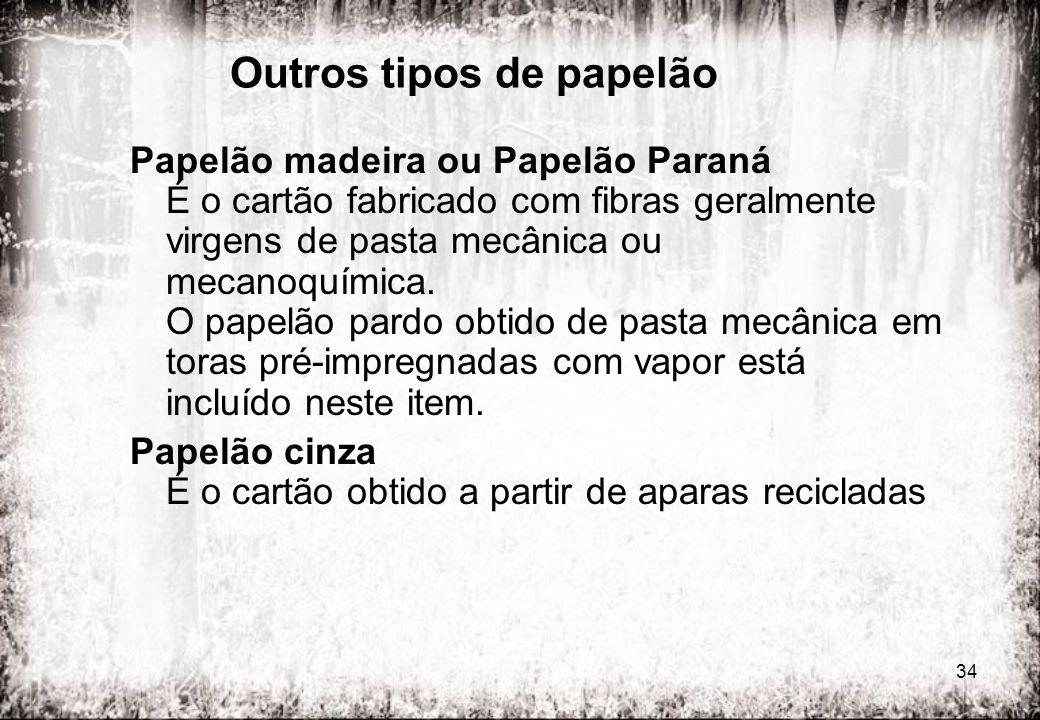 34 Outros tipos de papelão Papelão madeira ou Papelão Paraná É o cartão fabricado com fibras geralmente virgens de pasta mecânica ou mecanoquímica. O