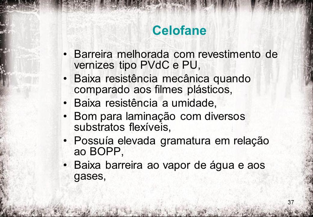 37 Celofane Barreira melhorada com revestimento de vernizes tipo PVdC e PU, Baixa resistência mecânica quando comparado aos filmes plásticos, Baixa re