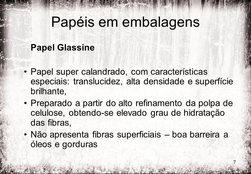 7 Papéis em embalagens Papel Glassine Papel super calandrado, com características especiais: translucidez, alta densidade e superfície brilhante, Prep