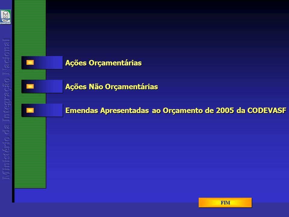 AÇÕES ORÇAMENTÁRIAS Navegação Interior Desenvolvimento da Bovideocultura Zoneamento Ecológico-Econômico PROÁGUA - Infraestrutura Apoio Administrativo Gestão da Política de Desenvolvimento Regional e Ordenamento Territorial Operações Especiais - Cumprimento de Sentenças Judiciais Operações Especiais - Serviço da Dívida Externa Promoção e Inserção Econômica de Sub-Regiões - PROMOVER Transf.