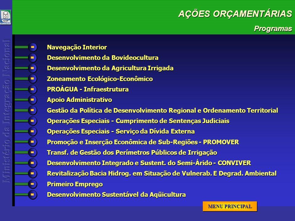 AÇÕES ORÇAMENTÁRIAS AÇÕES ORÇAMENTÁRIAS AÇÕES ORÇAMENTÁRIAS AÇÕES ORÇAMENTÁRIAS PROGRAMA / AÇÃO Navegação Interior 500.000TOTAL Operação das Linhas de Navegação no Lago de Três Marias no Estado de Minas Gerais AÇÃO 500.000 OGU 2005 125.000 58.000 veículos p/ ano transpor tados R$ META FÍSICA IV TRIIII TRIII TRII TRI CRONOGRAMA FINANCEIRO