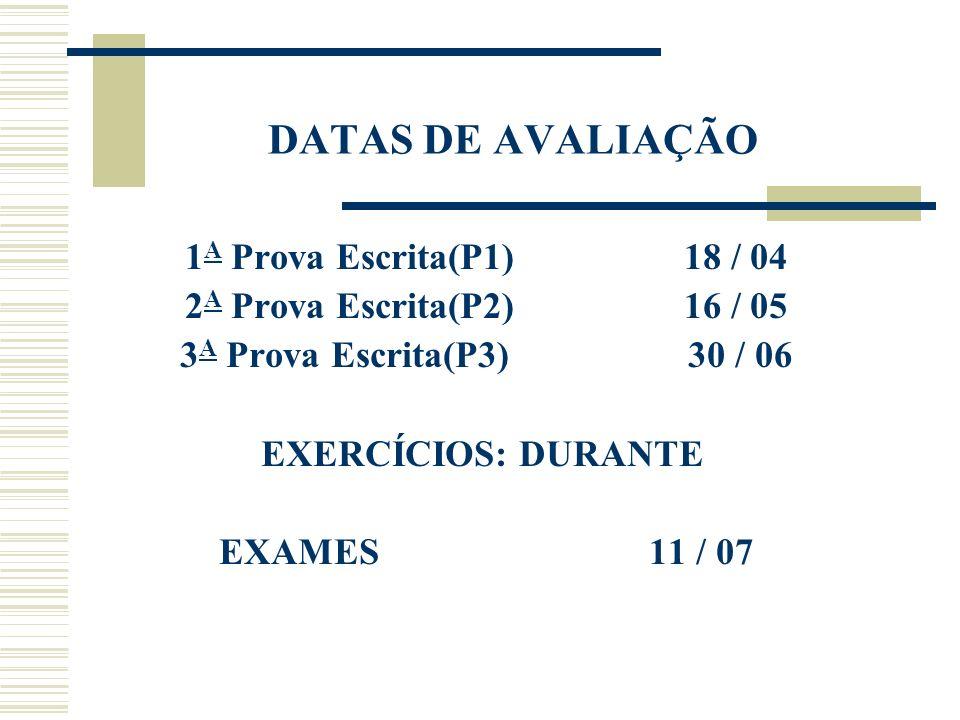 DATAS DE AVALIAÇÃO 1 A Prova Escrita(P1) 18 / 04 2 A Prova Escrita(P2) 16 / 05 3 A Prova Escrita(P3) 30 / 06 EXERCÍCIOS: DURANTE EXAMES 11 / 07