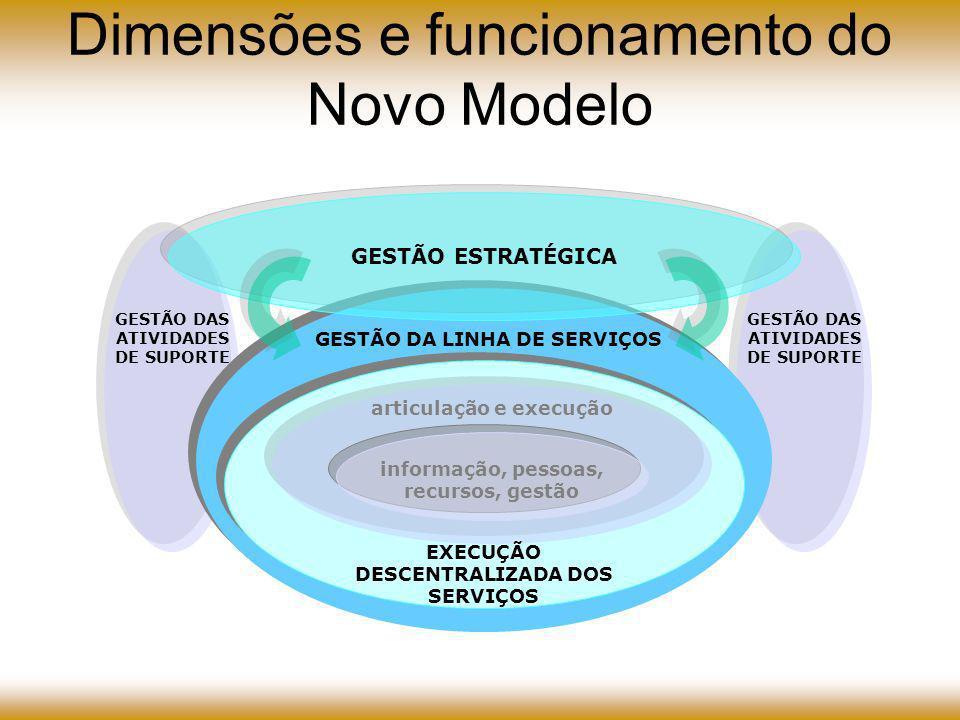 GESTÃO ESTRATÉGICA GESTÃO DAS ATIVIDADES DE SUPORTE informação, pessoas, recursos, gestão articulação e execução GESTÃO DA LINHA DE SERVIÇOS EXECUÇÃO DESCENTRALIZADA DOS SERVIÇOS Dimensões e funcionamento do Novo Modelo