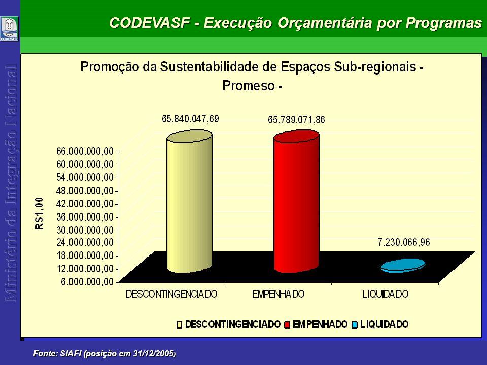 CODEVASF - Execução Orçamentária por Programas Fonte: SIAFI (posição em 31/12/2005 )