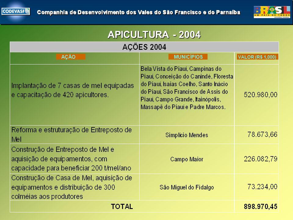 APICULTURA - 2004 APICULTURA - 2004 AÇÃO MUNICÍPIOS VALOR (R$ 1,000)