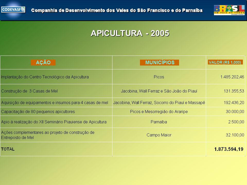 APICULTURA - 2005 APICULTURA - 2005 AÇÃO MUNICÍPIOS VALOR (R$ 1,000)