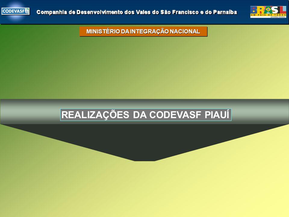 REALIZAÇÕES DA CODEVASF PIAUÍ MINISTÉRIO DA INTEGRAÇÃO NACIONAL