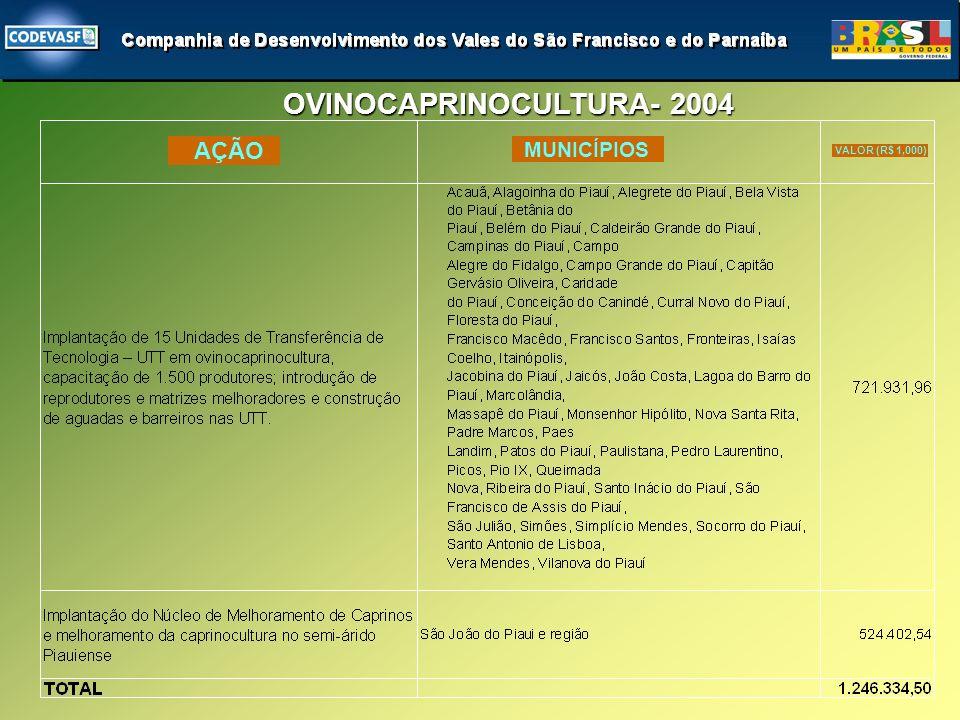 OVINOCAPRINOCULTURA- 2004 AÇÃO MUNICÍPIOS VALOR (R$ 1,000)