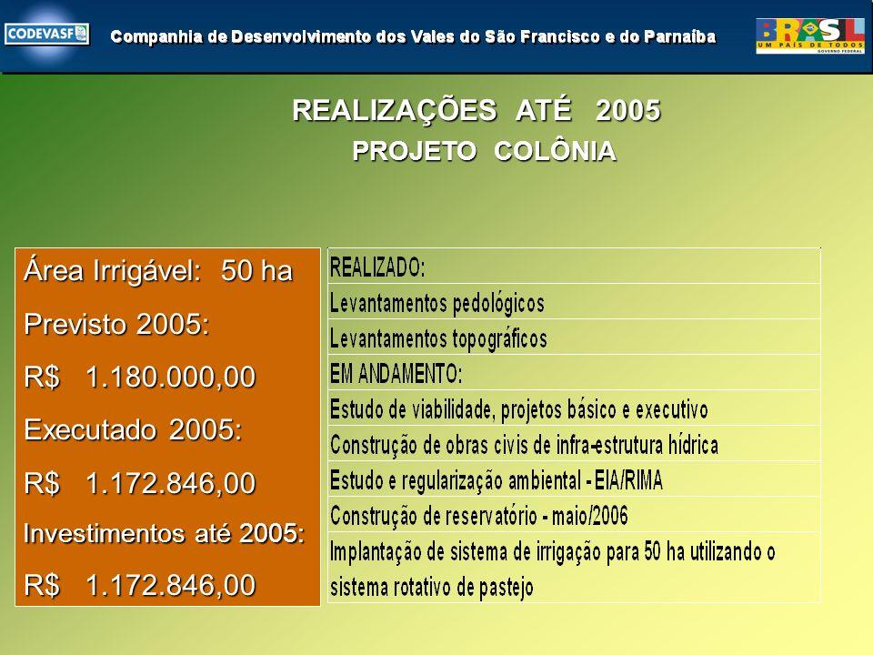 Área Irrigável: 50 ha Previsto 2005: R$ 1.180.000,00 Executado 2005: R$ 1.172.846,00 Investimentos até 2005: R$ 1.172.846,00 REALIZAÇÕES ATÉ 2005 PROJETO COLÔNIA PROJETO COLÔNIA