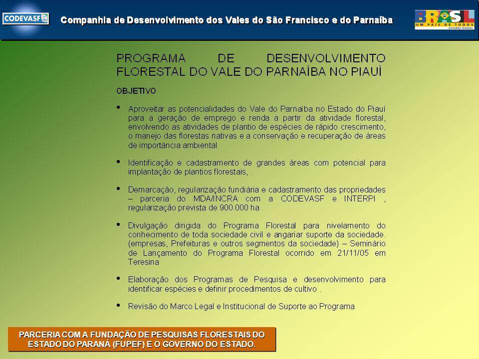 PARCERIA COM A FUNDAÇÃO DE PESQUISAS FLORESTAIS DO ESTADO DO PARANÁ (FUPEF) E O GOVERNO DO ESTADO.