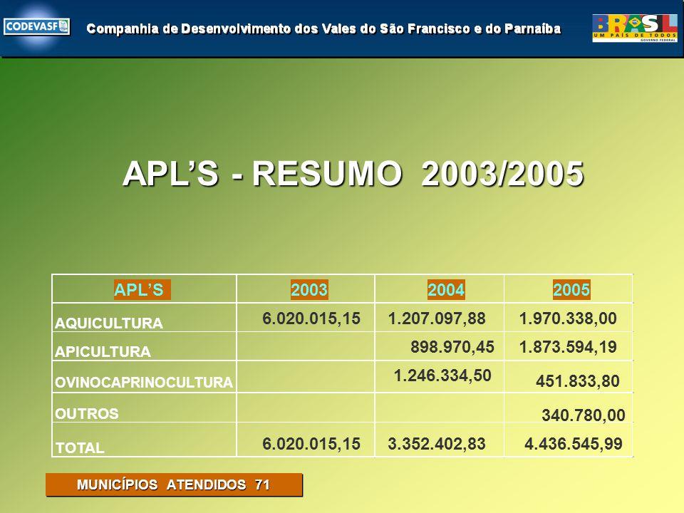 APICULTURA DESTAQUES IMPLANTAÇÃO PREVISTA PARA 2006