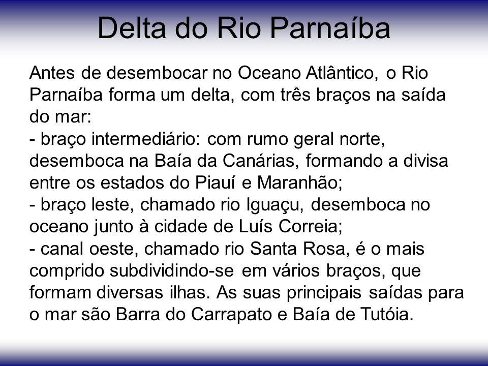 Delta do Rio Parnaíba Antes de desembocar no Oceano Atlântico, o Rio Parnaíba forma um delta, com três braços na saída do mar: - braço intermediário: com rumo geral norte, desemboca na Baía da Canárias, formando a divisa entre os estados do Piauí e Maranhão; - braço leste, chamado rio Iguaçu, desemboca no oceano junto à cidade de Luís Correia; - canal oeste, chamado rio Santa Rosa, é o mais comprido subdividindo-se em vários braços, que formam diversas ilhas.