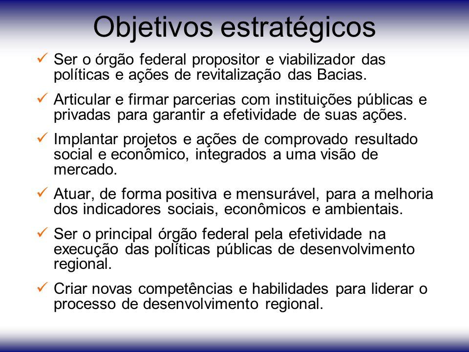 Objetivos estratégicos Ser o órgão federal propositor e viabilizador das políticas e ações de revitalização das Bacias.
