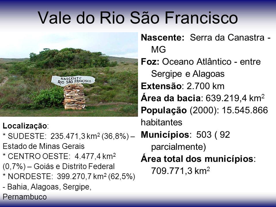 Vale do Rio São Francisco Nascente: Serra da Canastra - MG Foz: Oceano Atlântico - entre Sergipe e Alagoas Extensão: 2.700 km Área da bacia: 639.219,4 km 2 População (2000): 15.545.866 habitantes Municípios: 503 ( 92 parcialmente) Área total dos municípios: 709.771,3 km 2 Localização: * SUDESTE: 235.471,3 km 2 (36,8%) – Estado de Minas Gerais * CENTRO OESTE: 4.477,4 km 2 (0,7%) – Goiás e Distrito Federal * NORDESTE: 399.270,7 km 2 (62,5%) - Bahia, Alagoas, Sergipe, Pernambuco