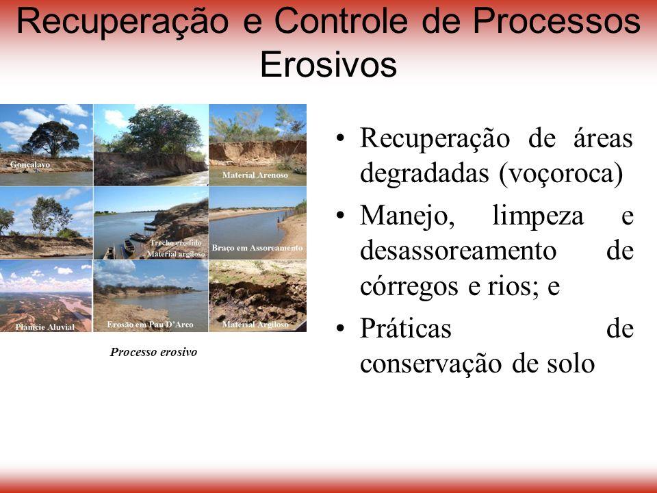 Processo erosivo Recuperação e Controle de Processos Erosivos Recuperação de áreas degradadas (voçoroca) Manejo, limpeza e desassoreamento de córregos e rios; e Práticas de conservação de solo