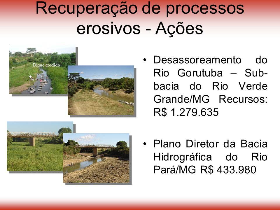Desassoreamento do Rio Gorutuba – Sub- bacia do Rio Verde Grande/MG Recursos: R$ 1.279.635 Plano Diretor da Bacia Hidrográfica do Rio Pará/MG R$ 433.980 Dique erodido Recuperação de processos erosivos - Ações