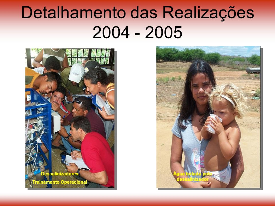 Detalhamento das Realizações 2004 - 2005 Dessalinizadores Treinamento Operacional Água tratada pelo dessalinizador