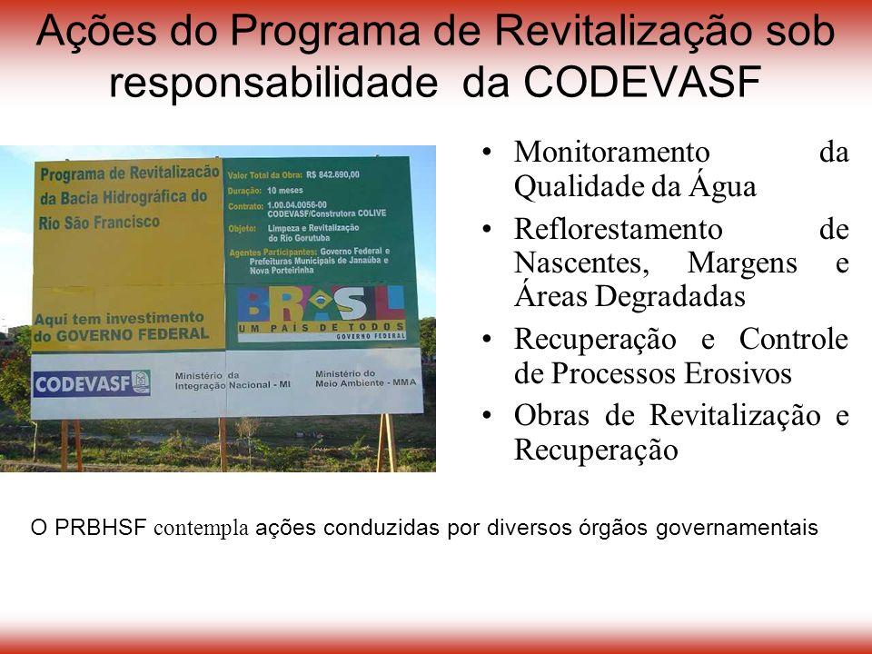 Ações do Programa de Revitalização sob responsabilidade da CODEVASF Monitoramento da Qualidade da Água Reflorestamento de Nascentes, Margens e Áreas Degradadas Recuperação e Controle de Processos Erosivos Obras de Revitalização e Recuperação O PRBHSF contempla ações conduzidas por diversos órgãos governamentais