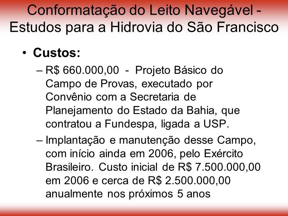 Conformatação do Leito Navegável - Estudos para a Hidrovia do São Francisco Custos: –R$ 660.000,00 - Projeto Básico do Campo de Provas, executado por Convênio com a Secretaria de Planejamento do Estado da Bahia, que contratou a Fundespa, ligada a USP.