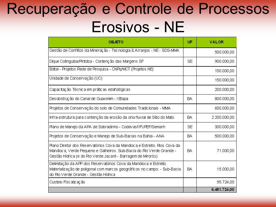 Recuperação e Controle de Processos Erosivos - NE