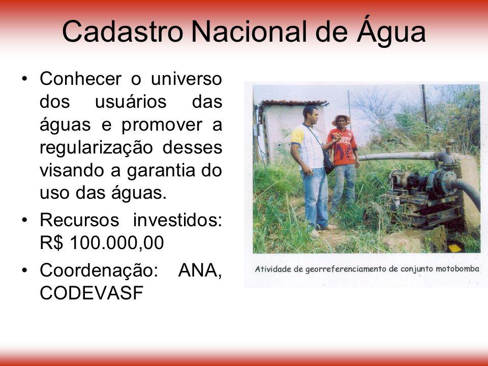 Conhecer o universo dos usuários das águas e promover a regularização desses visando a garantia do uso das águas.