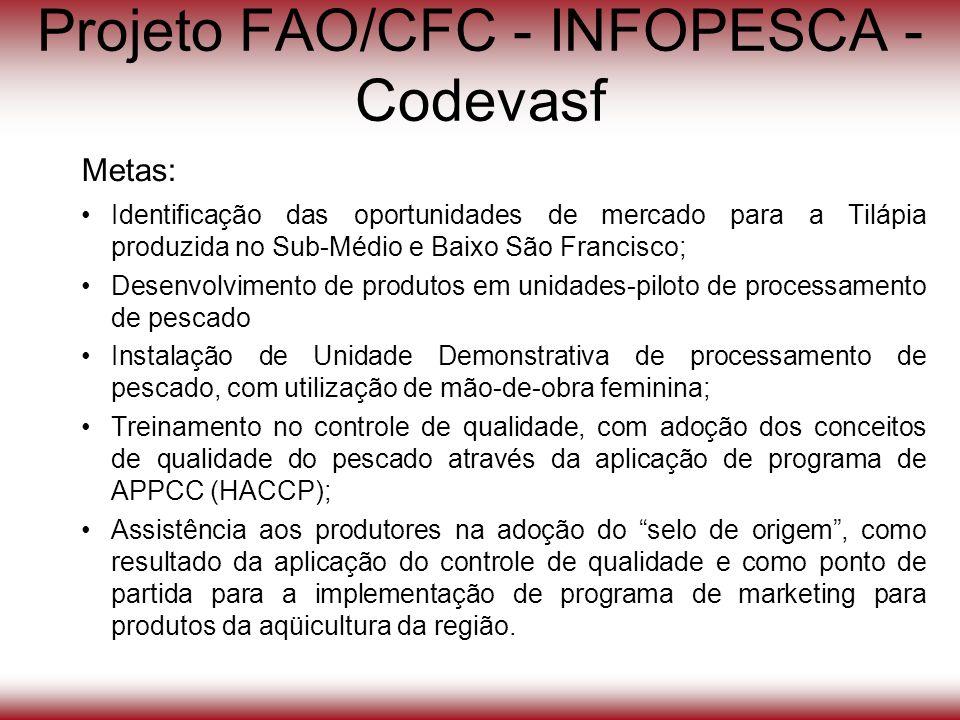 Projeto FAO/CFC - INFOPESCA - Codevasf Metas: Identificação das oportunidades de mercado para a Tilápia produzida no Sub-Médio e Baixo São Francisco;