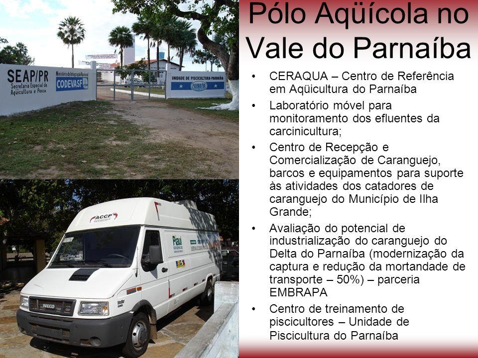 Pólo Aqüícola no Vale do Parnaíba CERAQUA – Centro de Referência em Aqüicultura do Parnaíba Laboratório móvel para monitoramento dos efluentes da carc