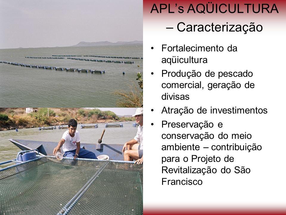 APLs AQÜICULTURA – Caracterização Fortalecimento da aqüicultura Produção de pescado comercial, geração de divisas Atração de investimentos Preservação