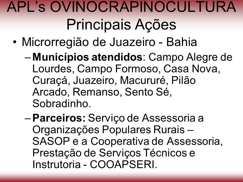 APLs OVINOCRAPINOCULTURA Principais Ações Microrregião de Juazeiro - Bahia –Municípios atendidos: Campo Alegre de Lourdes, Campo Formoso, Casa Nova, C