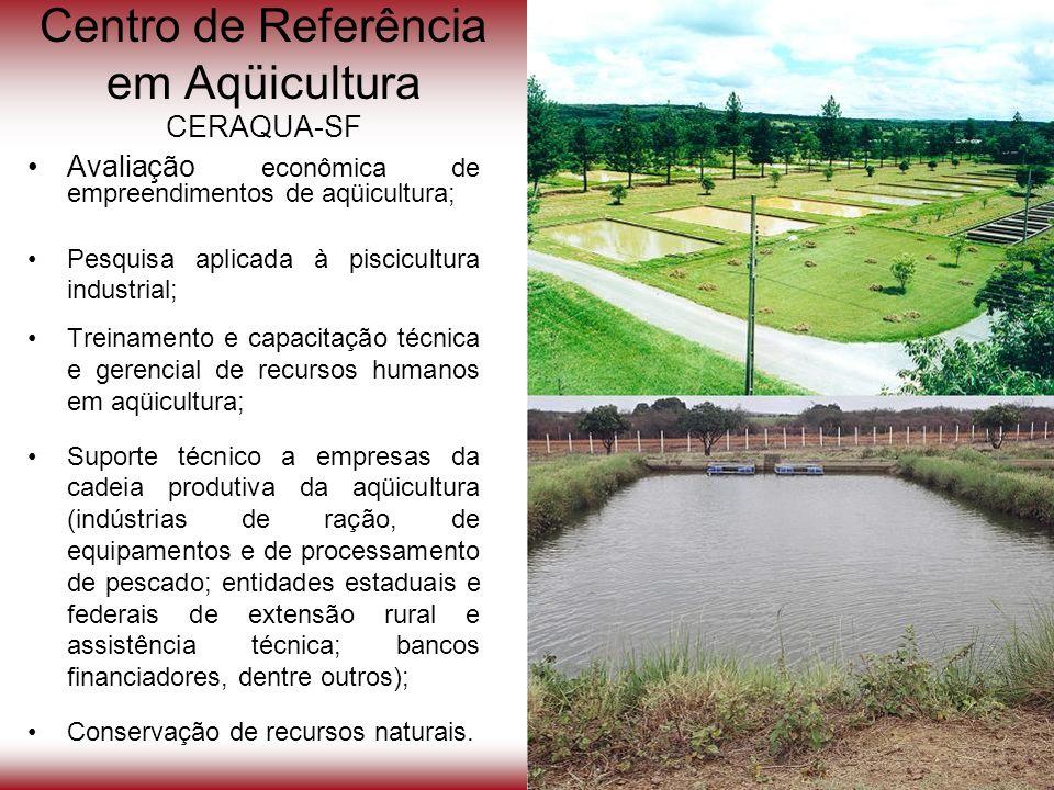 Avaliação econômica de empreendimentos de aqüicultura; Pesquisa aplicada à piscicultura industrial; Treinamento e capacitação técnica e gerencial de r