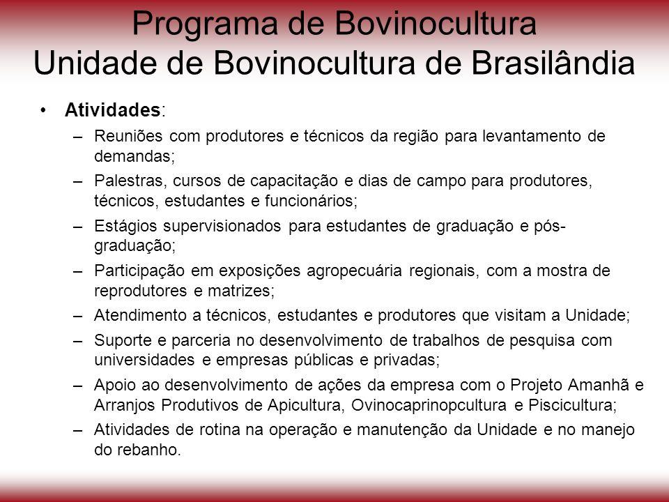 Programa de Bovinocultura Unidade de Bovinocultura de Brasilândia Atividades: –Reuniões com produtores e técnicos da região para levantamento de deman