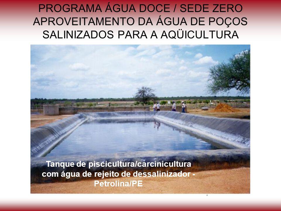 PROGRAMA ÁGUA DOCE / SEDE ZERO APROVEITAMENTO DA ÁGUA DE POÇOS SALINIZADOS PARA A AQÜICULTURA Tanque de piscicultura/carcinicultura com água de rejeit
