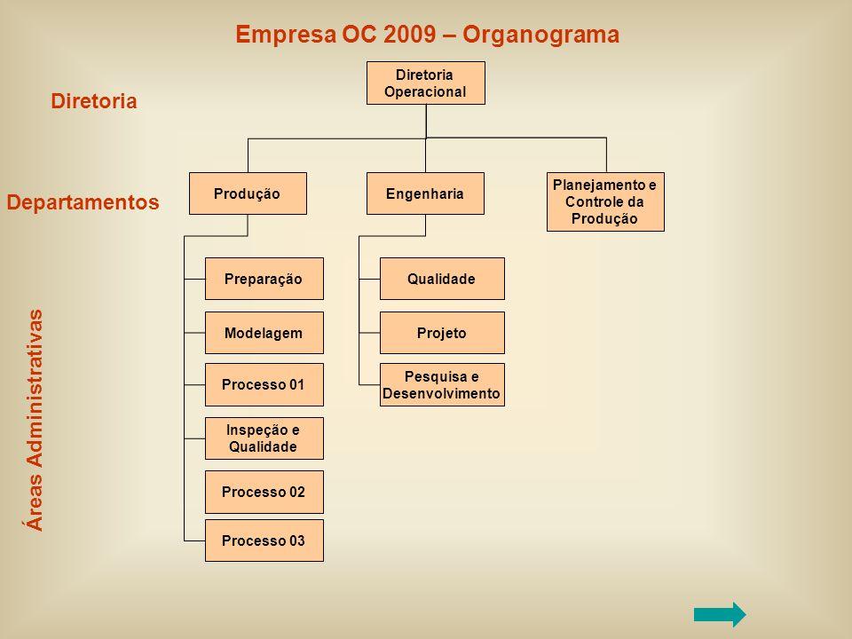 Diretoria Operacional Produção Preparação Modelagem Processo 01 Inspeção e Qualidade Processo 02 Processo 03 Engenharia Qualidade Projeto Pesquisa e D