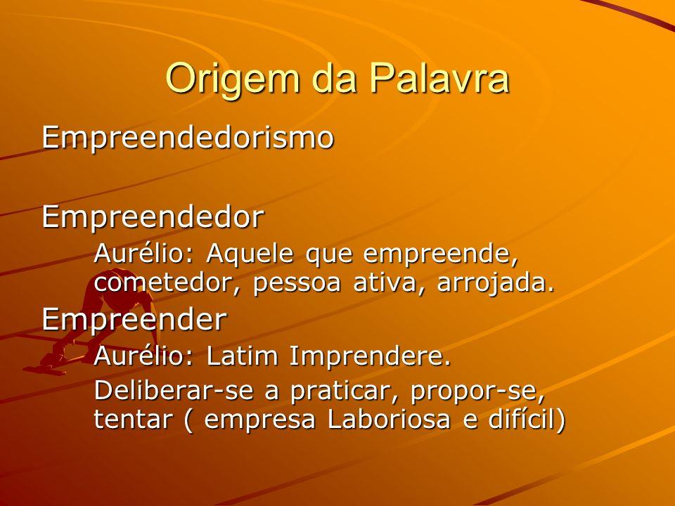 Origem da Palavra Empreendedorismo Empreendedor Aurélio: Aquele que empreende, cometedor, pessoa ativa, arrojada.