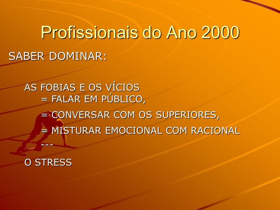 Profissional do Ano 2000 1 – SABER TRABALHAR EM EQUIPE 2 – CAPACIDADE DE SOLUCIONAR PROBLEMAS 3 – TER HABILIDADES INTERPESSOAIS 4 – BOA COMUNICAÇÃO OR