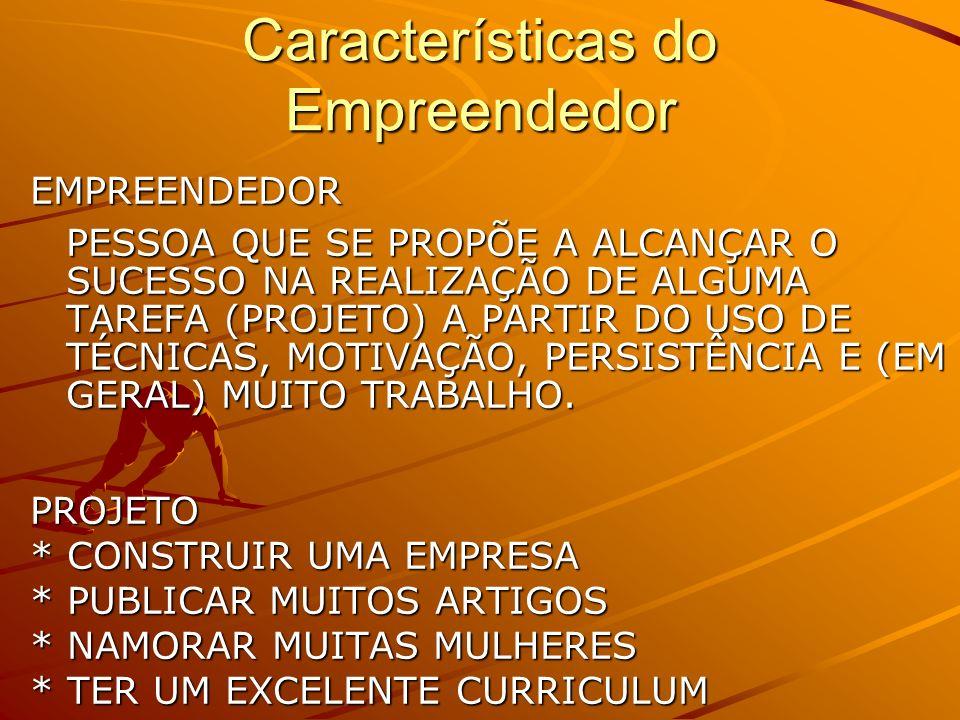 Características do Empreendedor EMPREENDEDOR PESSOA QUE SE PROPÕE A ALCANÇAR O SUCESSO NA REALIZAÇÃO DE ALGUMA TAREFA (PROJETO) A PARTIR DO USO DE TÉCNICAS, MOTIVAÇÃO, PERSISTÊNCIA E (EM GERAL) MUITO TRABALHO.