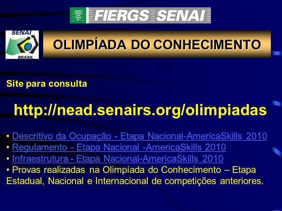 Site para consulta http://nead.senairs.org/olimpiadas Descritivo da Ocupação - Etapa Nacional-AmericaSkills 2010 Regulamento - Etapa Nacional -America