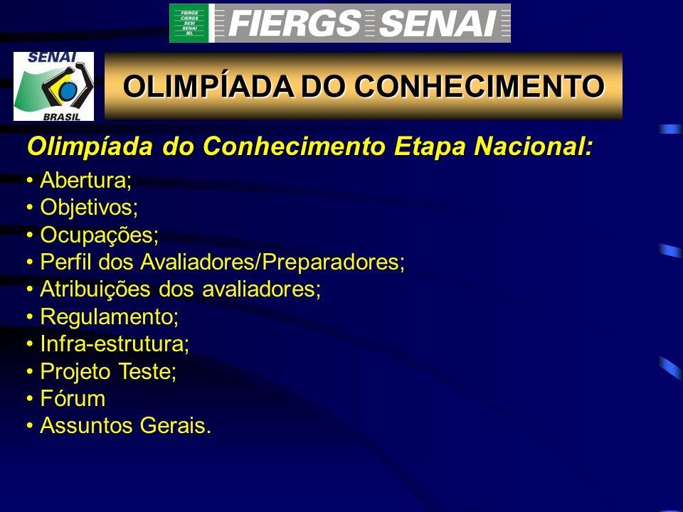 OLIMPÍADA DO CONHECIMENTO OLIMPÍADA DO CONHECIMENTO ETAPA NACIONAL E AMERICASKILLS 2010 Onde: Rio de Janeiro (slide)slide Período: 10 a 14 de Março de 2010 Nº de ocupações de intenção de participação do SENAI-RS: 36 Nº de ocupações de intenção de participação do SENAC-RS: 5 Site: www.senai.br/olimpiadawww.senai.br/olimpiada