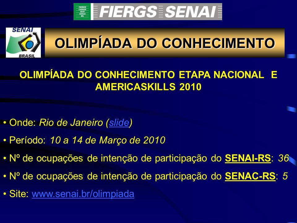 OLIMPÍADA DO CONHECIMENTO OLIMPÍADA DO CONHECIMENTO ETAPA NACIONAL E AMERICASKILLS 2010 Onde: Rio de Janeiro (slide)slide Período: 10 a 14 de Março de